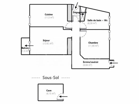 Apt de 2/3P de 55,5 m² – Viager Libre Beausoleil